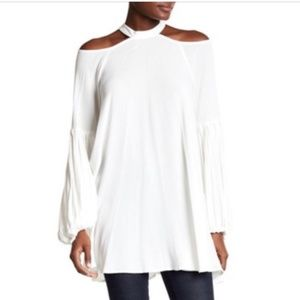 Free People Drift Away Cold Shoulder White Tunic S